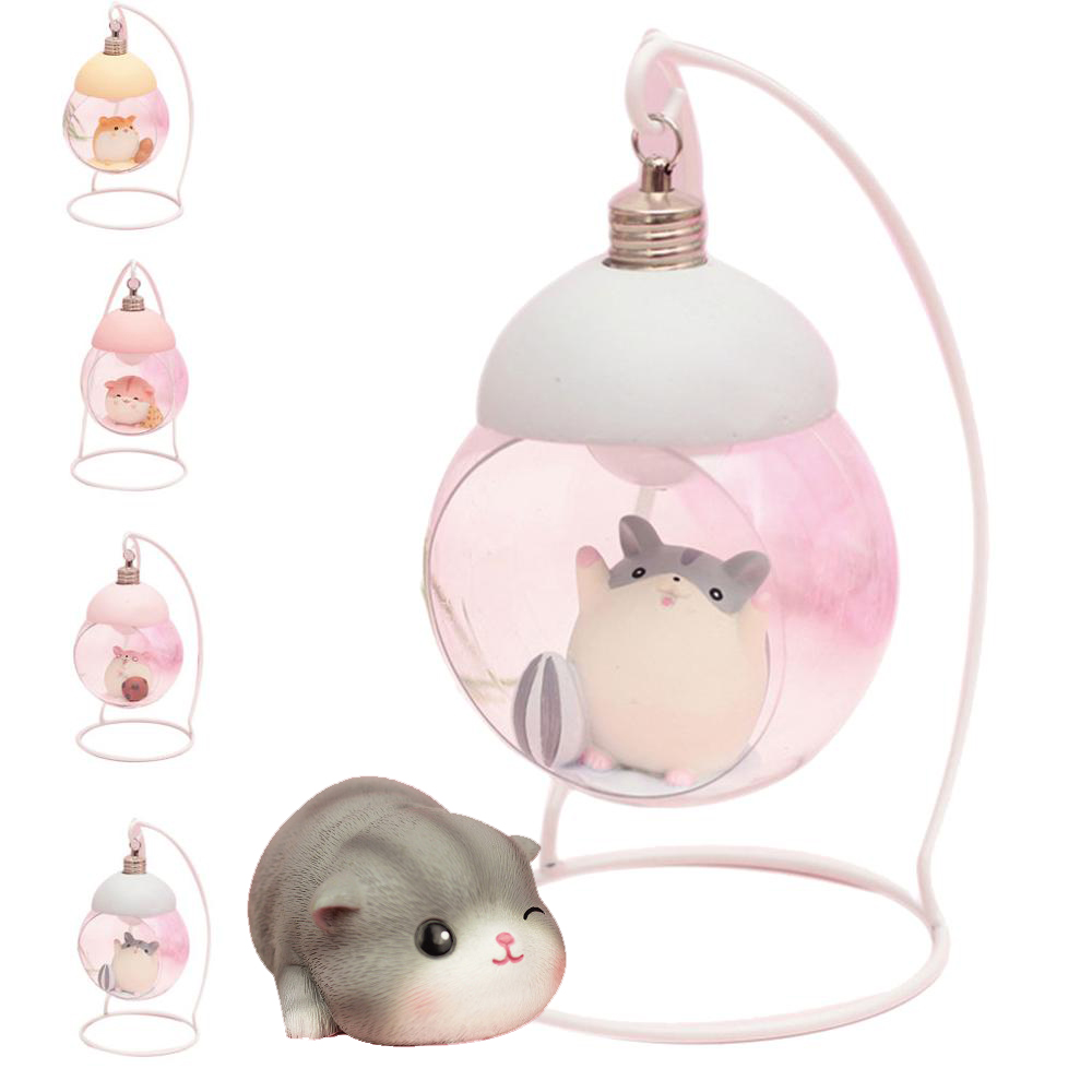 Lamp Hamster Night Light Resin Home Decoration Accessories Cartoon Vintage Palace Girl Ornaments For Room Japanese