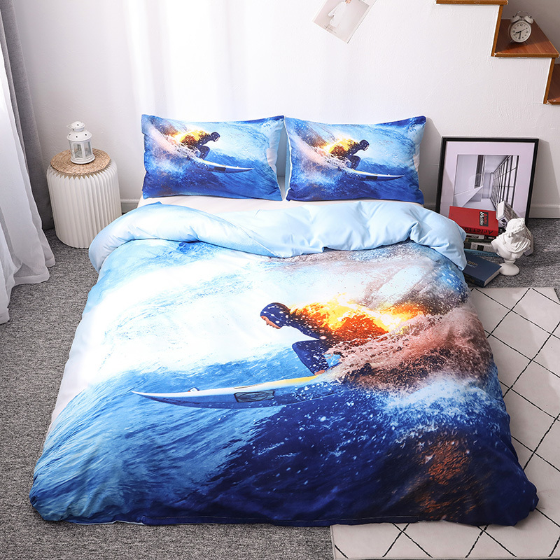 Hot Selling 3D Large Version Of Sporty Mountain Motorcycle Paraglider Three Sets Of Quilt Cover