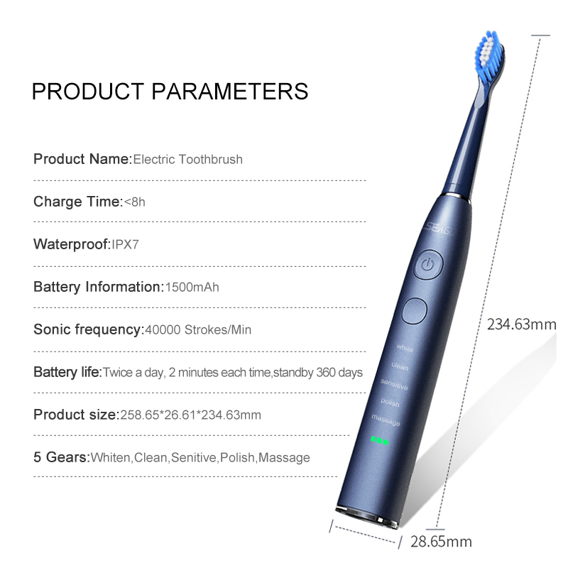 H39eef4b280264f4d94fbbc7230caa5cba - SEAGO Sonic Electric Toothbrush Upgraded Adult Waterproof USB Rechargeable 360 Days Long Standby Time With5 Brush Head Best Gift