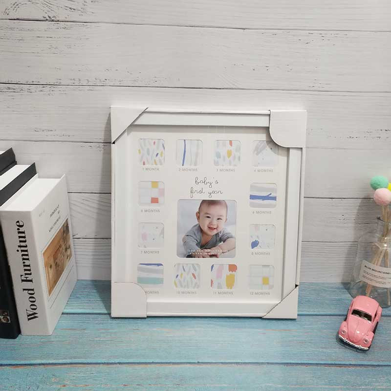 Baby 12 Months Old Photo Frame High-end Creative Plastic Table Wall Hanging Multi-function Combination Commemorative Photo Frame