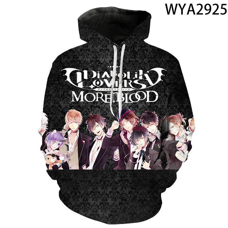 Men Women Children New Hoodies Diabolik Lovers 3D Printed Fashion Sweatshirts Boy Girl Kids Casual Streetwear Hooded Coat