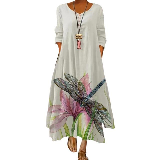 2021 Elegant Flowers Print Long Sleeve Spring Summer Dresses Casual O Neck Loose Women Dress Vintage Party Vestidos Long Dresses 6