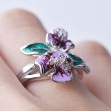 Женские модные роскошные фиолетовые эмалированные лепестки Дизайн