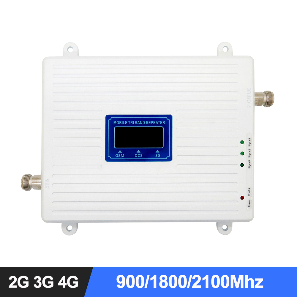 MIGOOZI Tri Band Mobile Signal Repeater 900Mhz 1800Mhz 2600Mhz Cell Phone Booster 2G 3G 4G LTE GSM DCS WCDMA Cellular Amplifier