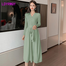 2019 new Korean version of the V-neck knit knee-length dress Knee-Length  Sashes  Sheath  Office Lady
