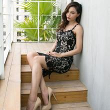 Spring and summer new style European American fashion explosions Explosive sexy slim dress Lace suspender