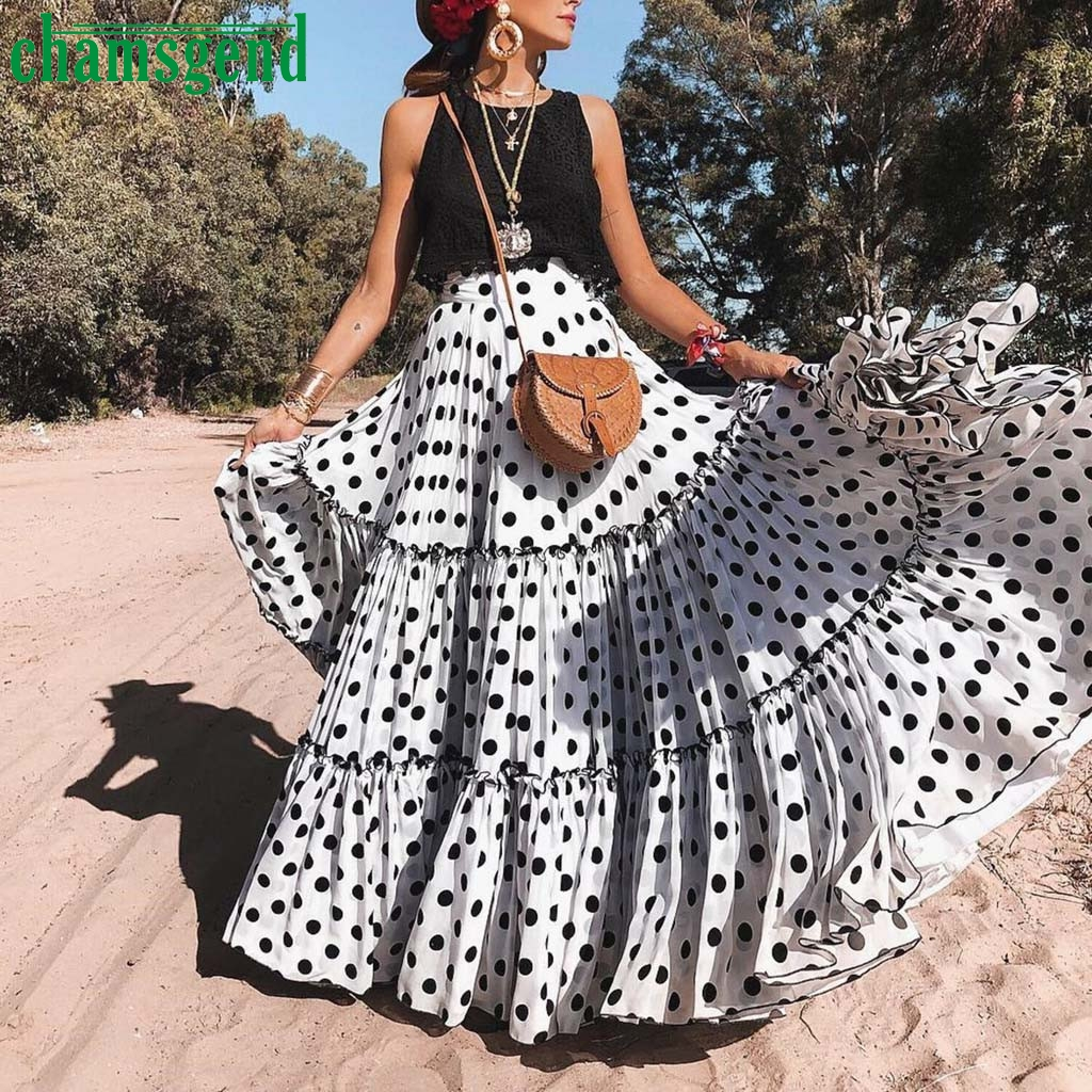 Maxi Skirt Polka-Dot Plus-Size Womens Printed Ruffled High-Waist Chamsgend Pleated -4zi