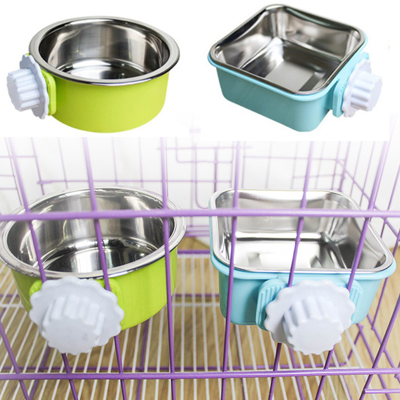 Brand New Stainless Steel Pet Bowl Water Food Feeder Puppy Cat Hanging Cage Square Bowls Pet Supplies Pet Dog Cat Crate Cage image