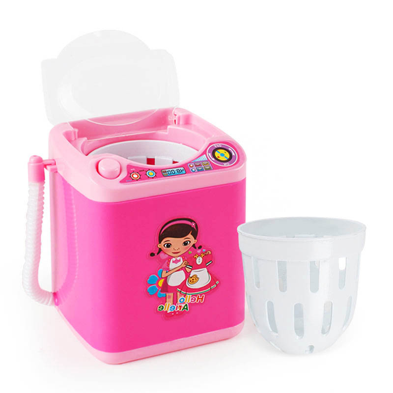 Mini Electric Washing Machine Toys Kids Pretend Play House Toys Dollhouse Miniature Washer Makeup Brush Cleaning Toys For Kids