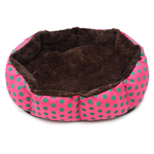Autumn Winter Pet Dog Bed Warm Soft Material Dot Printed Octagon Dogs House Pet Nest With Removable Mat Cat Puppy Kennel BJStore