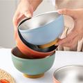 Антибактериальная чаша из нержавеющей стали, цветная Бытовая чаша для риса, двухслойная чаша против ожогов, посуда для взрослых и детей