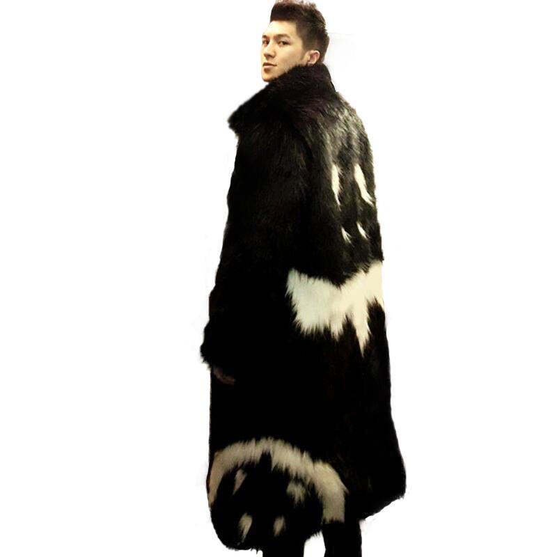 Men's Winter Faux Fur Jacket Black Gown White Devil Style 2019 New Long Windbreaker Fox Thick Warm Parka Man Leather Fur Coat