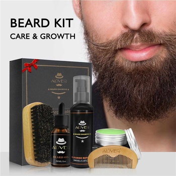 5Pcs/set Men Beard Growth Kit Hair Growth Enhancer Thicker Oil Nourishing Leave-in Conditioner Beard Grow Set with Comb 5