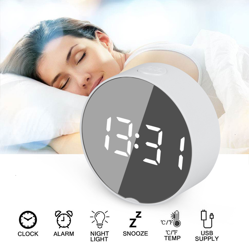 Round Digital Mirror Alarm Clock with LED Used as Night Light With Snooze Function and Temperature Display Electronic Useful for Home Decor 6