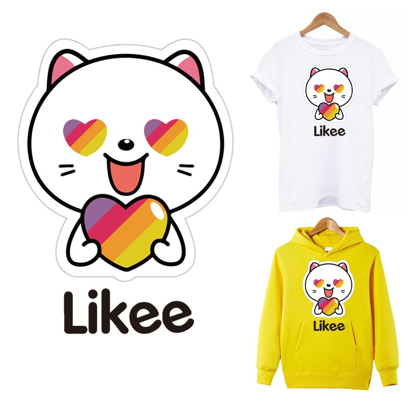 Fashion DIY Washable Clothing Cat Iron Appliques Heat Transfer Stickers Patches