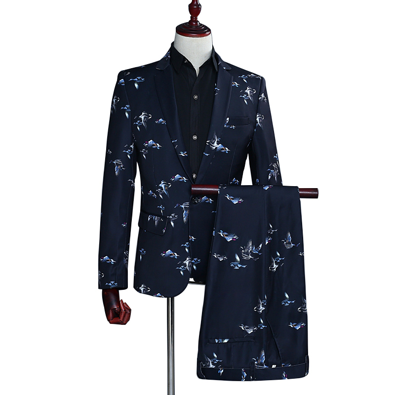 Printed Birdie Business Mature Men's Suit Comfortable Stereo Tailoring Wedding Party Performance Host