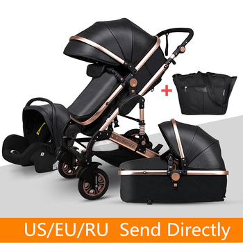 Newborn Baby Stroller 3 in 1 High Landscape Carriages Luxury Travel Pram Quality Bebe Basket Whit Car Seat Hot Sale EU No Tax image