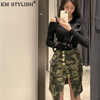New fashion Women High Waist Pencil Skirts button lace patchwork Ladies sexy Bodycon Camouflage split party casual Mini Skirt