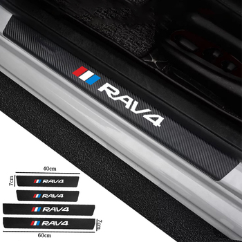4PCS Carbon Fiber Car Door Sill Guard Leather Stickers Vinyl Decal For Toyota RAV4 Hybrid Sport 2013 2006 2018 2011 2020 2019 image
