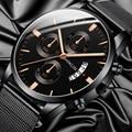 Reloj Hombre мужские модные повседневные деловые мужские часы из нержавеющей стали с сетчатым ремешком кварцевые часы Relogio Masculino