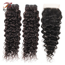 2/3-Bundles Human-Hair Lace Closure Water-Wave Natural-Color Brazilian with 4x4 Remy