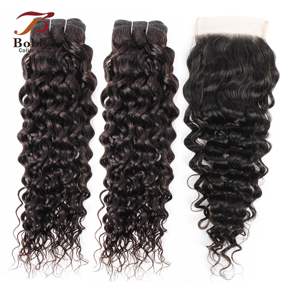 BOBBI COLLECTION Brazilian Water Wave 2/3 Bundles With Closure Natural Color Non Remy Human Hair Weave Bundles 10-26 Inch