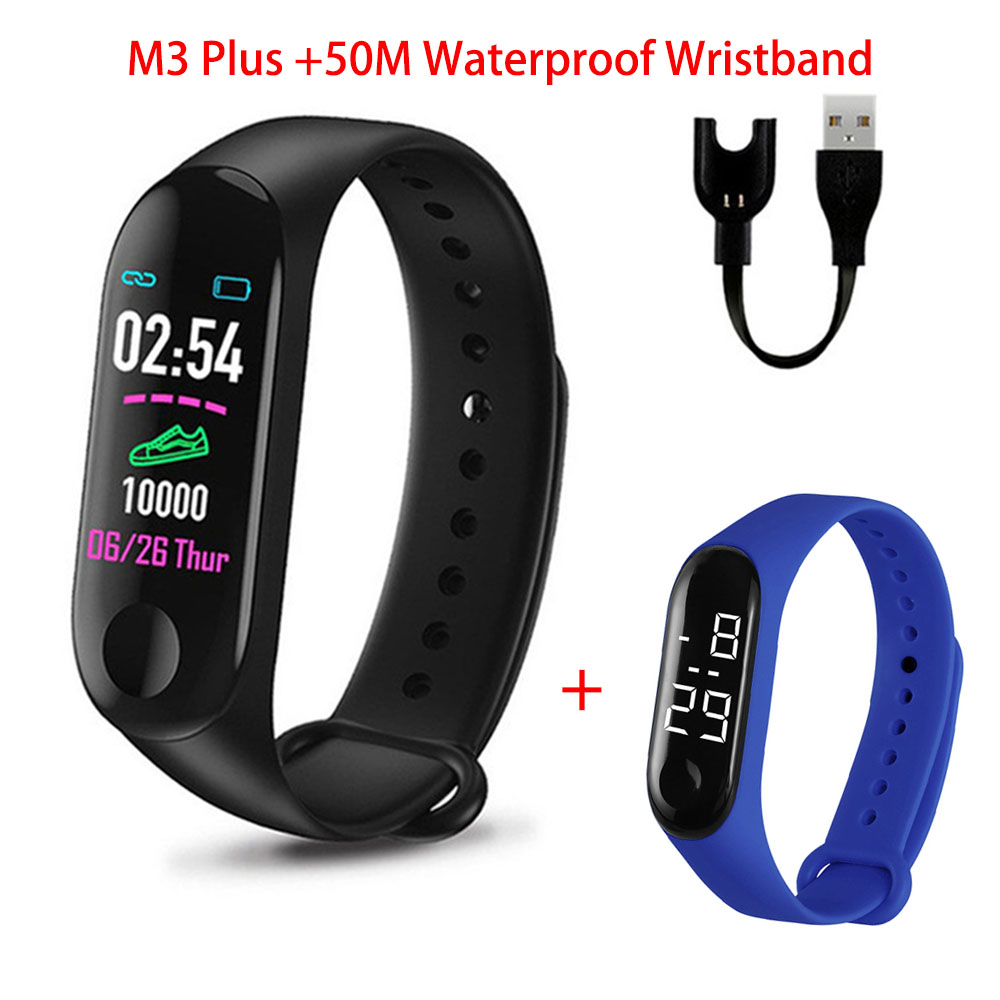 M3 Plus Smart Watch M3Plus Bluetooth Smart Bands Fitness Tracker Heart Rate Activity Smart Watch with 50M Waterproof Wristband