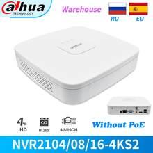 Dahua nvr 8ch 16ch 4k 8mp NVR2108-4KS2 NVR2116-4KS2 gravador de vídeo em rede para cctv ip câmera de segurança onvif sem poe
