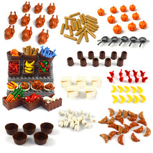 Bloques de construcción DIY de comida, pollo, calabaza, pescado, fruta, huevos, maceta de perro caliente, piezas MOC, accesorios de ciudad, piezas compatibles con todas las marcas
