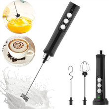 3 In 1 Electric Coffee Milk Frother Mini Handheld Milk Foam Maker 3 Whisks Drink Mixer for Cappuccino Latte Egg Beater Whisks