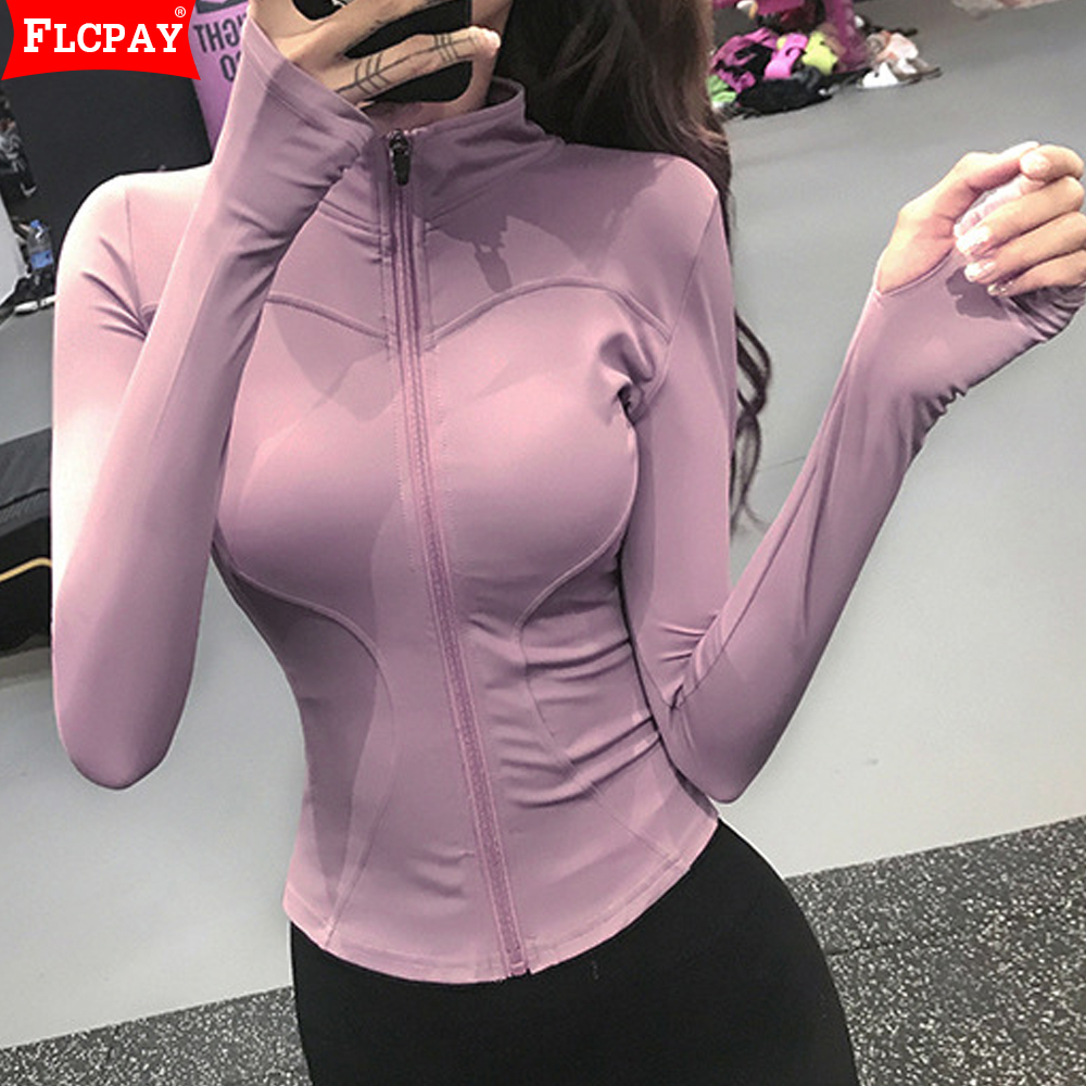 Women's Sports Jacket Female Zipper Running Long Sleeve Tight Fitness Yoga Clothes Top Outdoor Coat Hooded Sweater