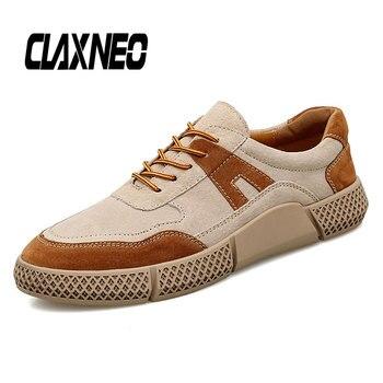 CLAXNEO Man Casual Shoes Suede Leather Fashion Sneakers Male Design Walking Footwear Men's Footwear clax shoes clax mens shoes leather 2019 spring summer male casual shoe fashion man s sneakers leisure walking footwear
