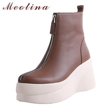 Купить с кэшбэком Meotina Autumn Ankle Boots Women Natural Genuine Leather Platform Wedge High Heel Short Boots Zip Round Toe Shoes Lady Winter 39