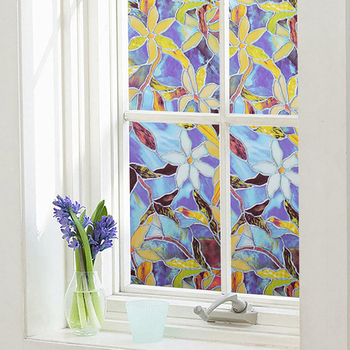 1/2 M Película tintada para ventana de privacidad de estática decorativa película de vidrio Magnolia ventana que apagón película