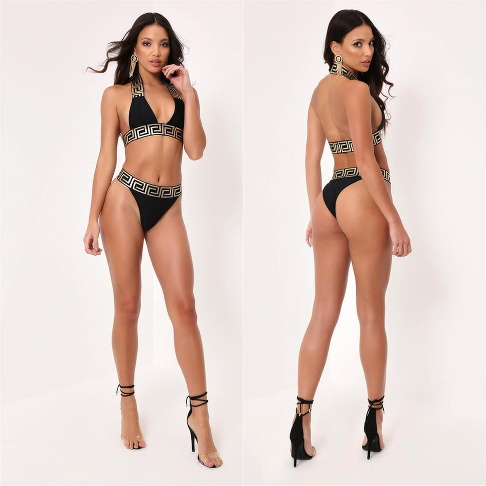 LS6152  WISH AliExpress European And American-style Hot Selling Printed Bikini Two-piece Set A Generation Of Fat