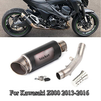 For Kawasaki Z800 Slip On Exhaust System Pipe Connect Mid Link Pipe Exhaust Muffler Pipe With DB Killer Moto Modified 2013-2016