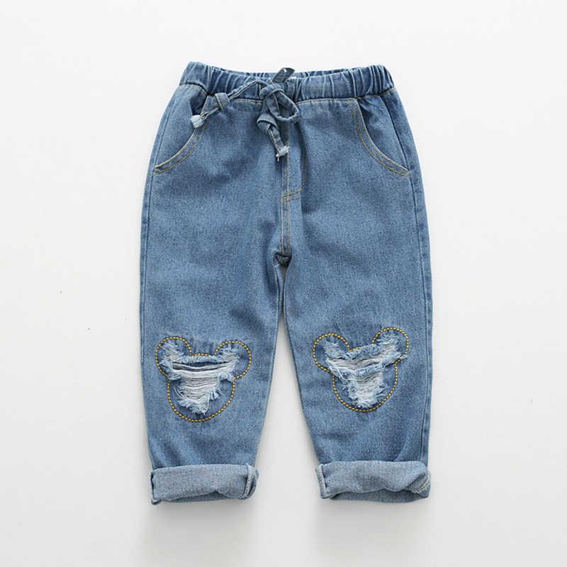 Menoea erkek kot pantolon 2020 bahar kızlar kot pantolon çocuklar karikatür desen tasarım çocuk denim pantolon çocuklar koyu mavi pantolon