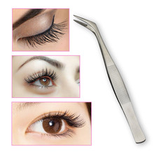 1pc False Eyelash Tweezers Pointed Planting Grafted Stainless Steel Elbow Eyebrows Eyelashes Clamp Makeup Forceps Tools
