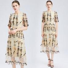 Zuoman Женская Роскошная вышивка Сетчатое платье festa высокое