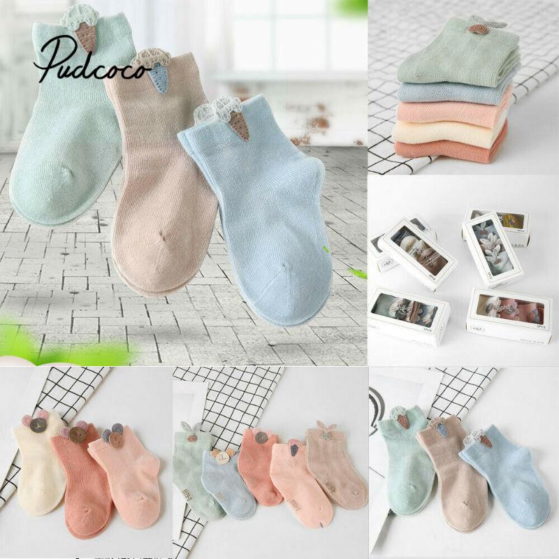 3 Pairs Baby Socks Spring Infant Toddler Socks Boys Girls Breathable Loose Socks