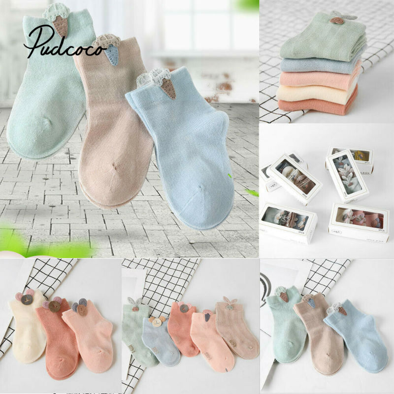 1 Paris 2020 Children Accessories Toddler Girls Kids Socks Cotton Baby Leg Warm 3D Cartoon Button Socks Candy Color Short Socks