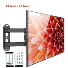 18 كجم قابل للتعديل 14   42 بوصة رف لتثبيت التليفزيون على الحائط إطار شاشة تلفزيون مسطحة دعم 15 درجة إمالة ل LCD شاشة LED مسطح