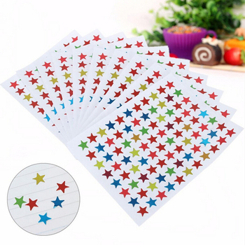 10 Sheets/880pcs Cute Five-pointed Star Scrapbooking Paper Stickers Colorful Seal Stationery Mother Teacher Praise Label image