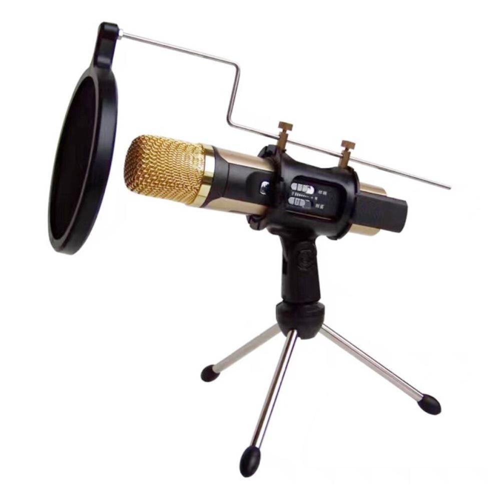 Tüketici Elektroniği'ten Mikrofon Aksesuarları'de Mikrofon tripod standı katlanabilir masaüstü mikrofon braketi şok dağı ile Mic tutucu klipsi ve Pop filtre title=