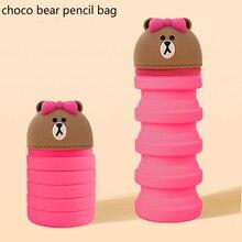 Flexible Cartoon Bear Pencil Case Silicone Makeup Cosmetic Bag School Supplies Stationery Cute Big Pencil Box Pencilcase Pen Bag недорого