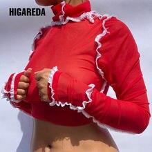 Hugictar 2020 с длинным рукавом сетка просвечивающий Сексуальный