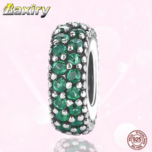Green CZ Charms Bracelet DIY Beads 100% 925 Sterling Silver Fit Bracelet Charms Silver 925 Original Beads For Jewelry Making