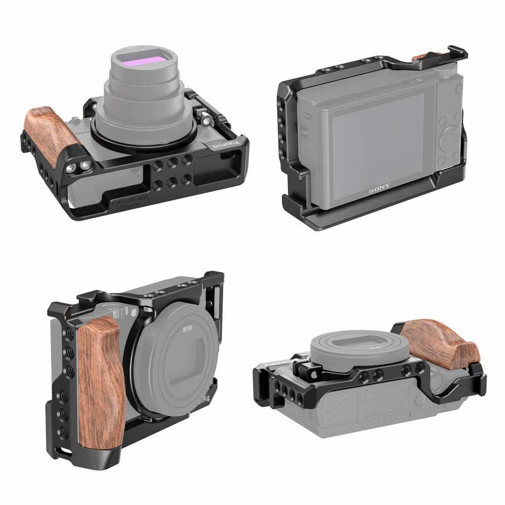 SmallRig RX100 VII Kooi voor Sony RX100 VII en RX100 VI Camera Vlogging Kit W/Houten Handvat & 1/4 draad Gaten Voor DIY Rig 2434