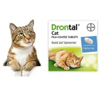 Bayer Drontal Dewormer for Cat Allworms Round and Tap Worm 8/40 Tabs