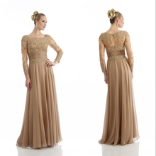 Elegant Brides With Long Sleeve Chiffon prom Party women elegant Evening gown 20